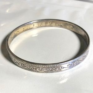 Brighton Etched Silvertone Bangle.